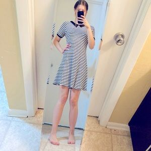 H&M Short Striped Collar Fit and Flare Dress